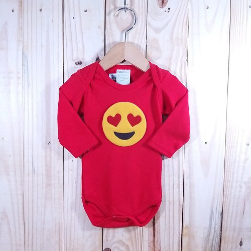Body para Bebê Manga Longa Vermelho  Emoji