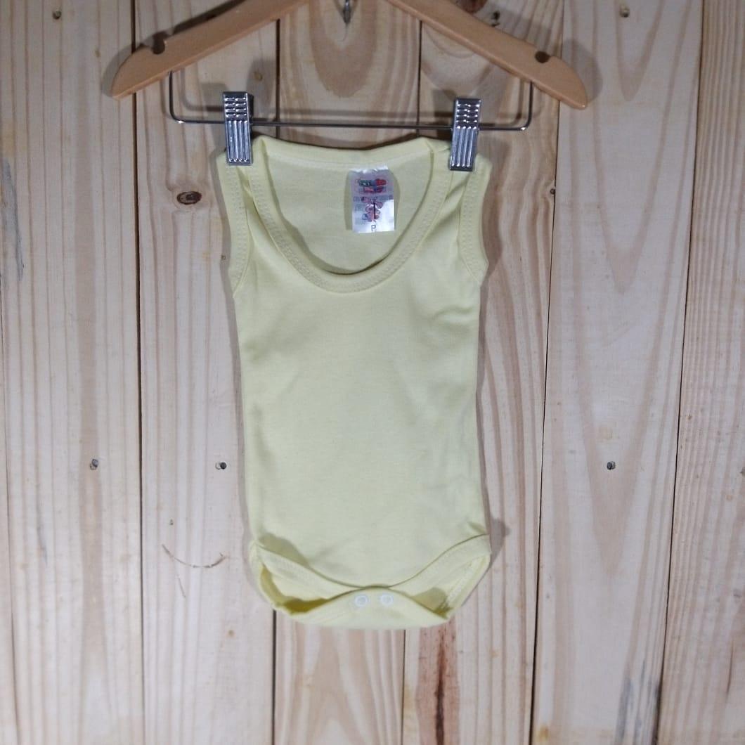 Body  Regata Liso em Malha para Bebê Amarelinho
