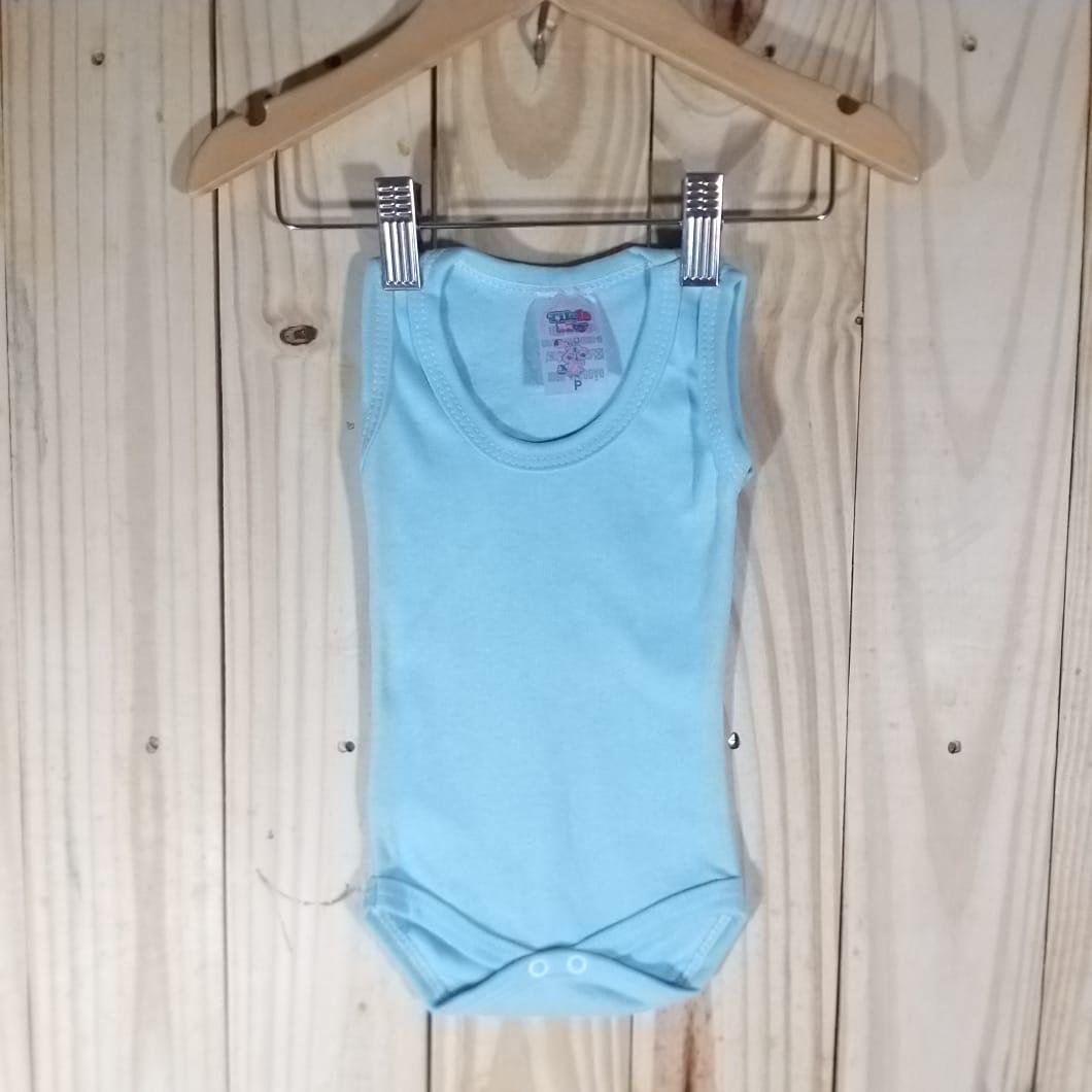 Body  Regata Liso em Malha para Bebê  Azul