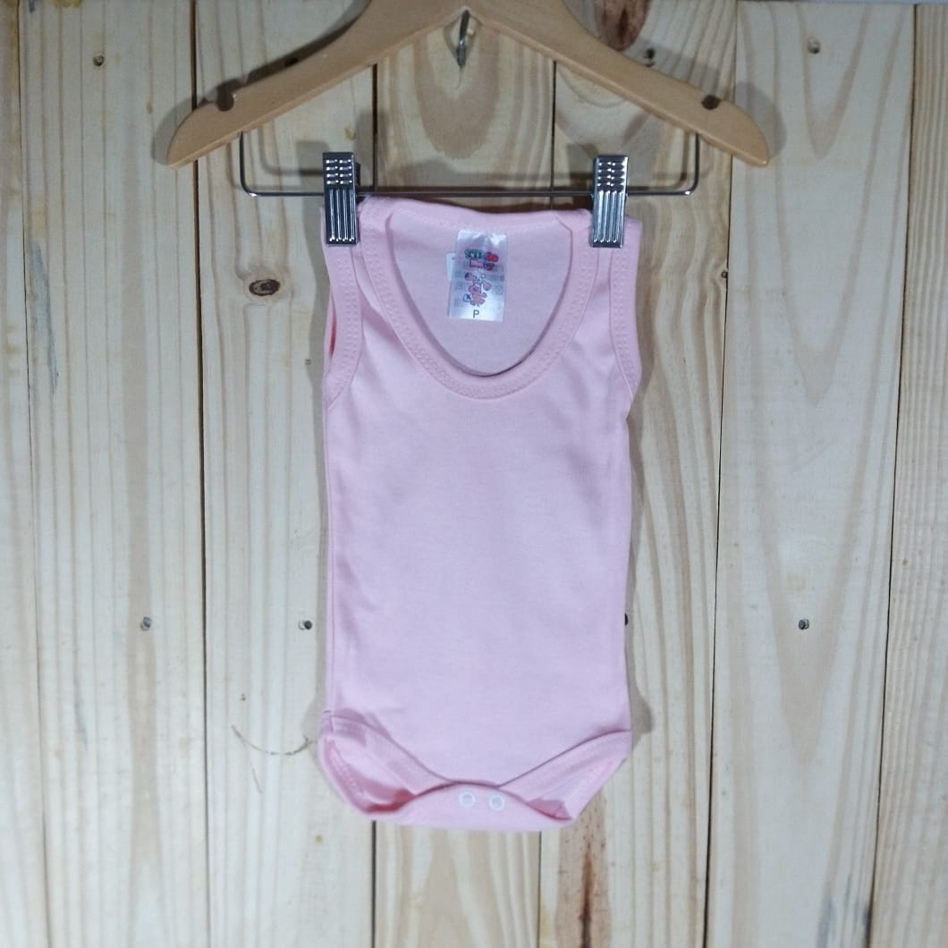 Body  Regata Liso em Malha para Bebê Rosa