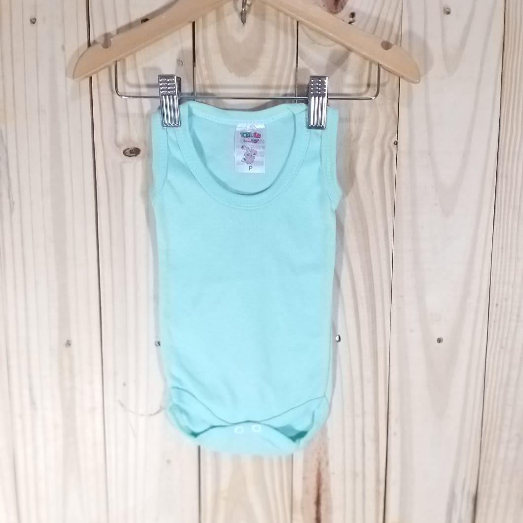 Body  Regata Liso em Malha para Bebê  Verdinho