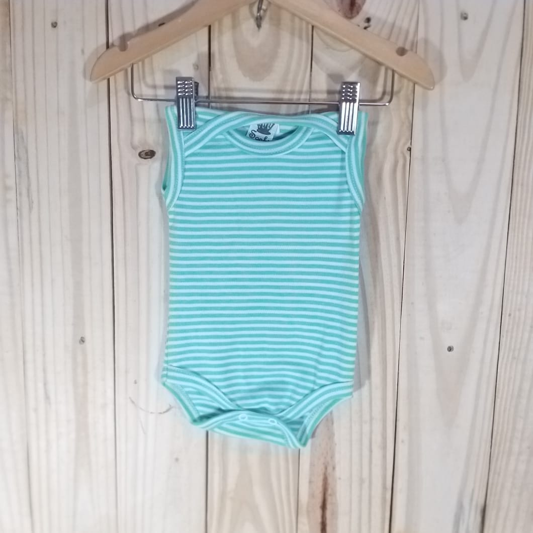 Body Regata para Bebê Listradinho Regata Verde