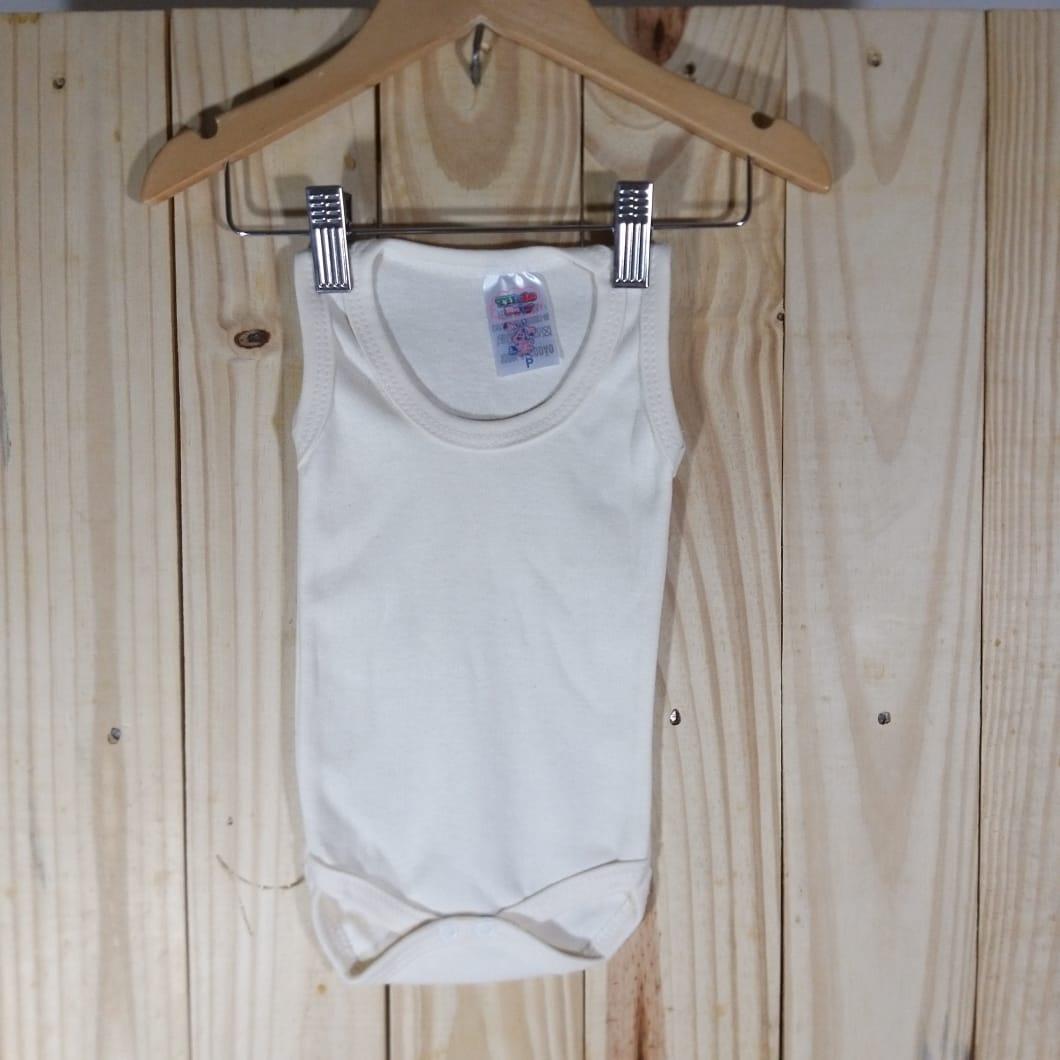 Body Regata para Bebê Listradinho Regata Off White