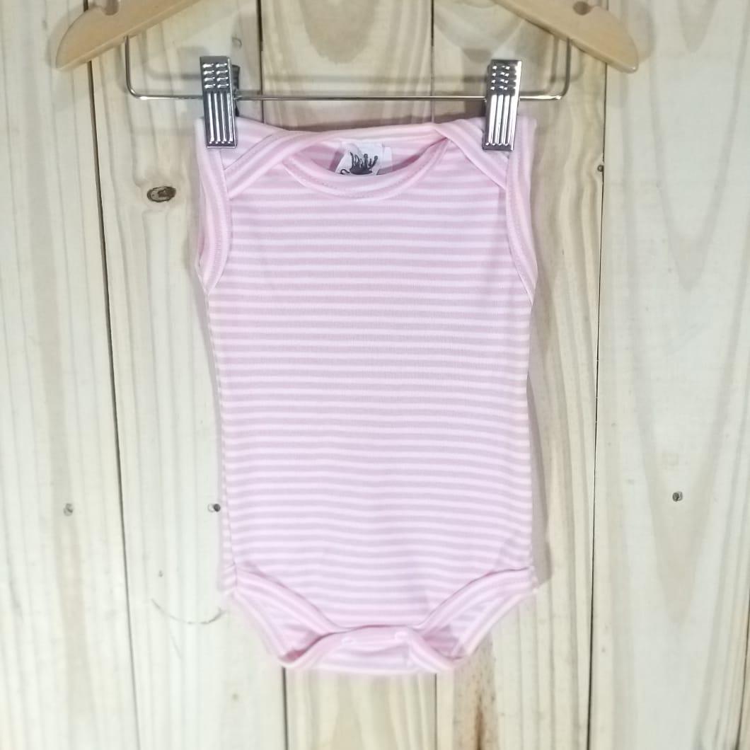 Body Regata para Bebê Listradinho Regata Rosa