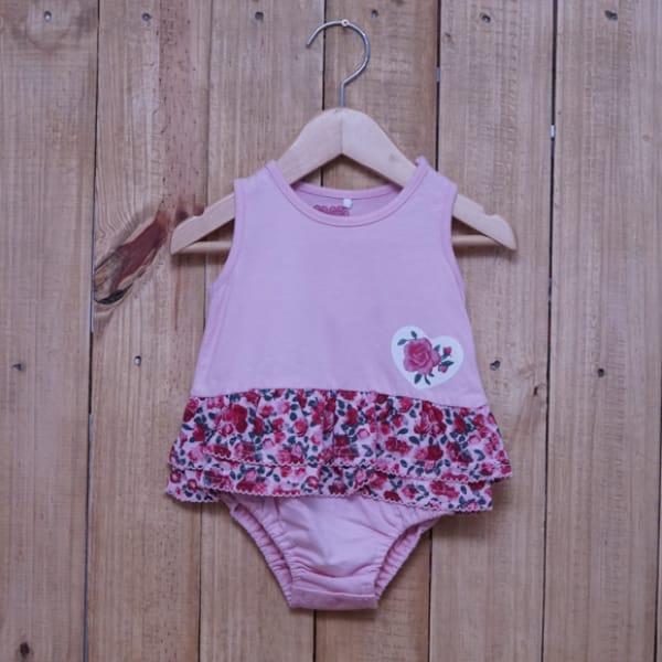 Body Saia para Bebê Regata Estampado Flores Rosa