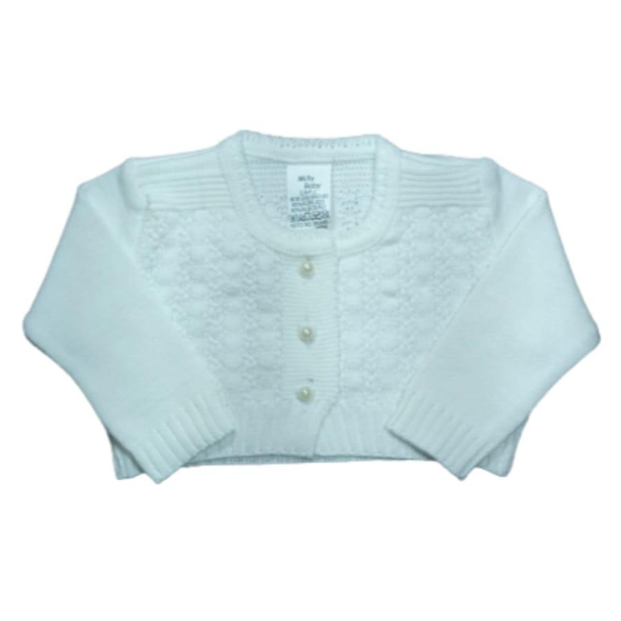 Bolero para Bebê em Tricot Branco