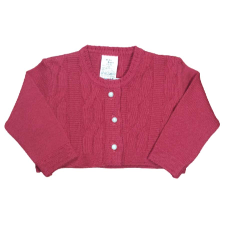 Bolero para Bebê em Tricot Trançado Vermelho