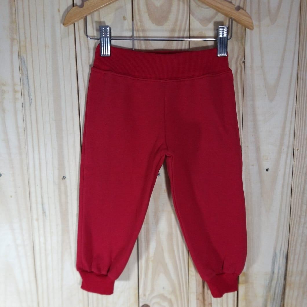 calça de Moletom para  Bebê  Vermelha