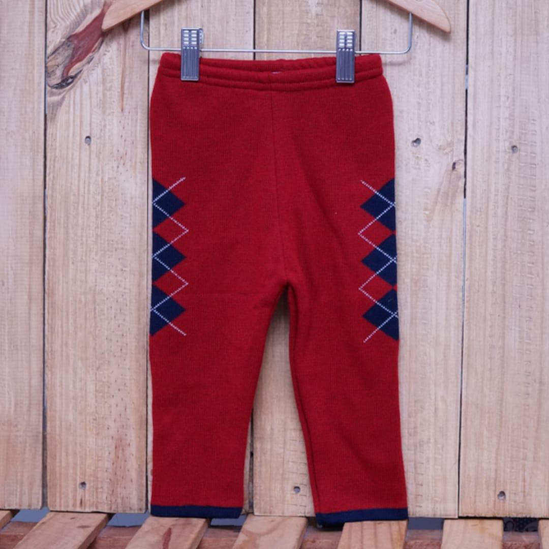 Calça para Bebê em Tricot com Detalhe na Frente Vermelho