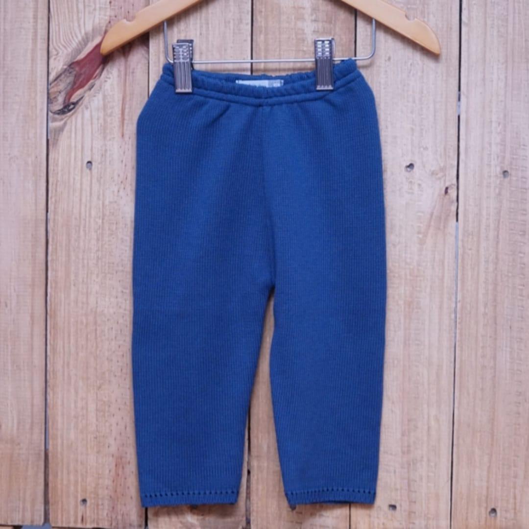 Calça para Bebê em Tricot Liso Azul Jeans