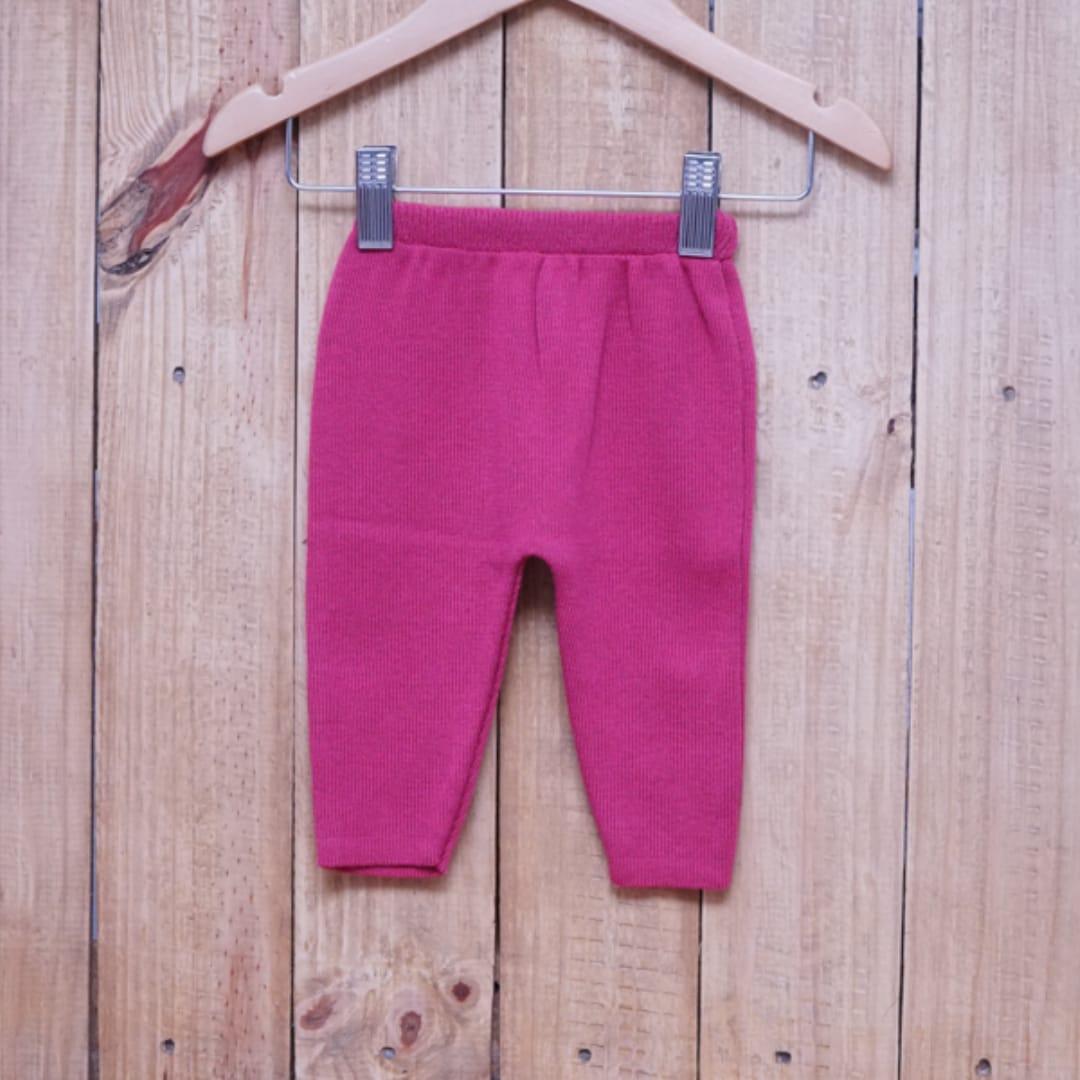 Calça para Bebê em Tricot Liso Pink