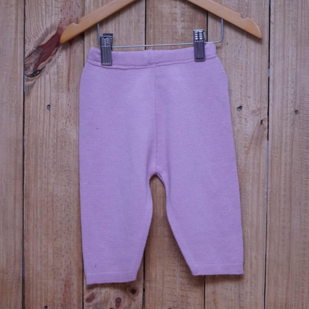 Calça para Bebê em Tricot  Liso Rosé