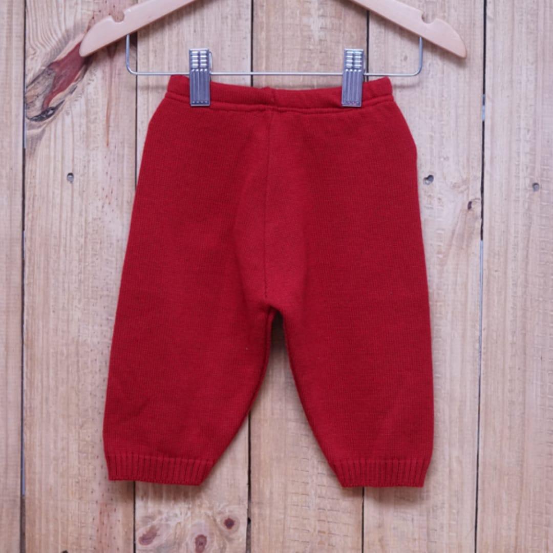 Calça para Bebê em Tricot Liso Vermelho