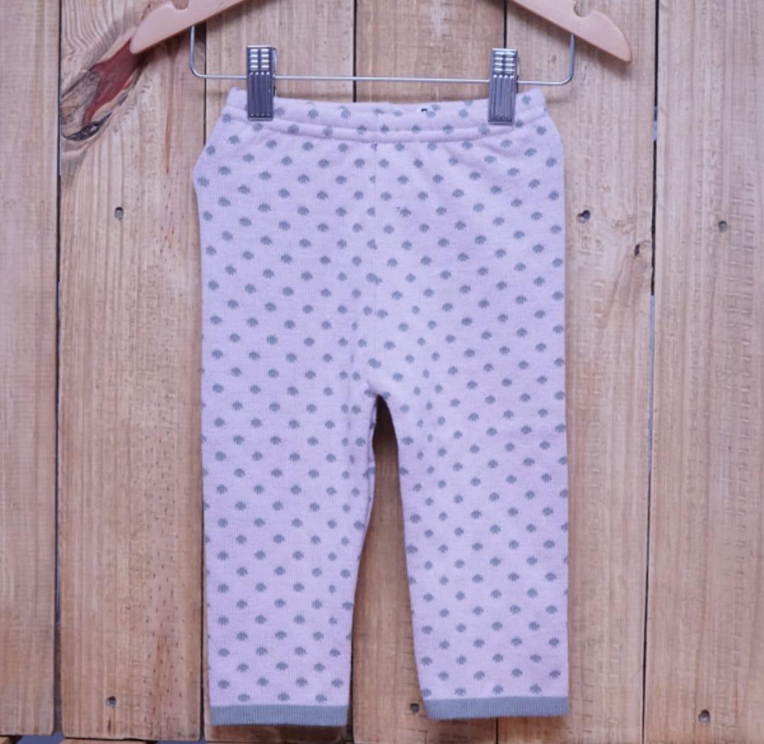 Calça para Bebê em Tricot Poá Rosa com Cinza