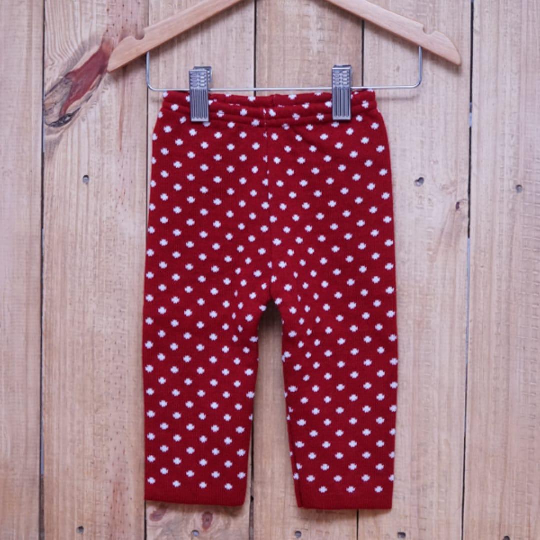 Calça para Bebê em Tricot Poá Vermelho com Branco