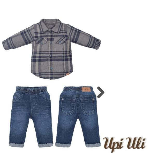 Camisa M/L Infantil e Calça jeans