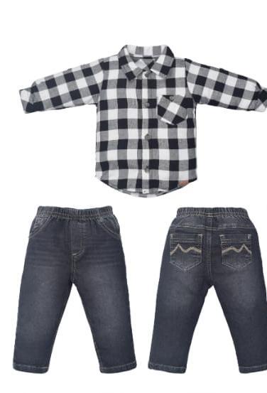 Camisa M/L para Bebê e Calça jeans
