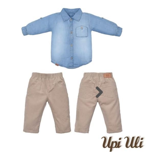 Camisa M/L para Bebê e Calça sarja Veludo Cotelê Bege