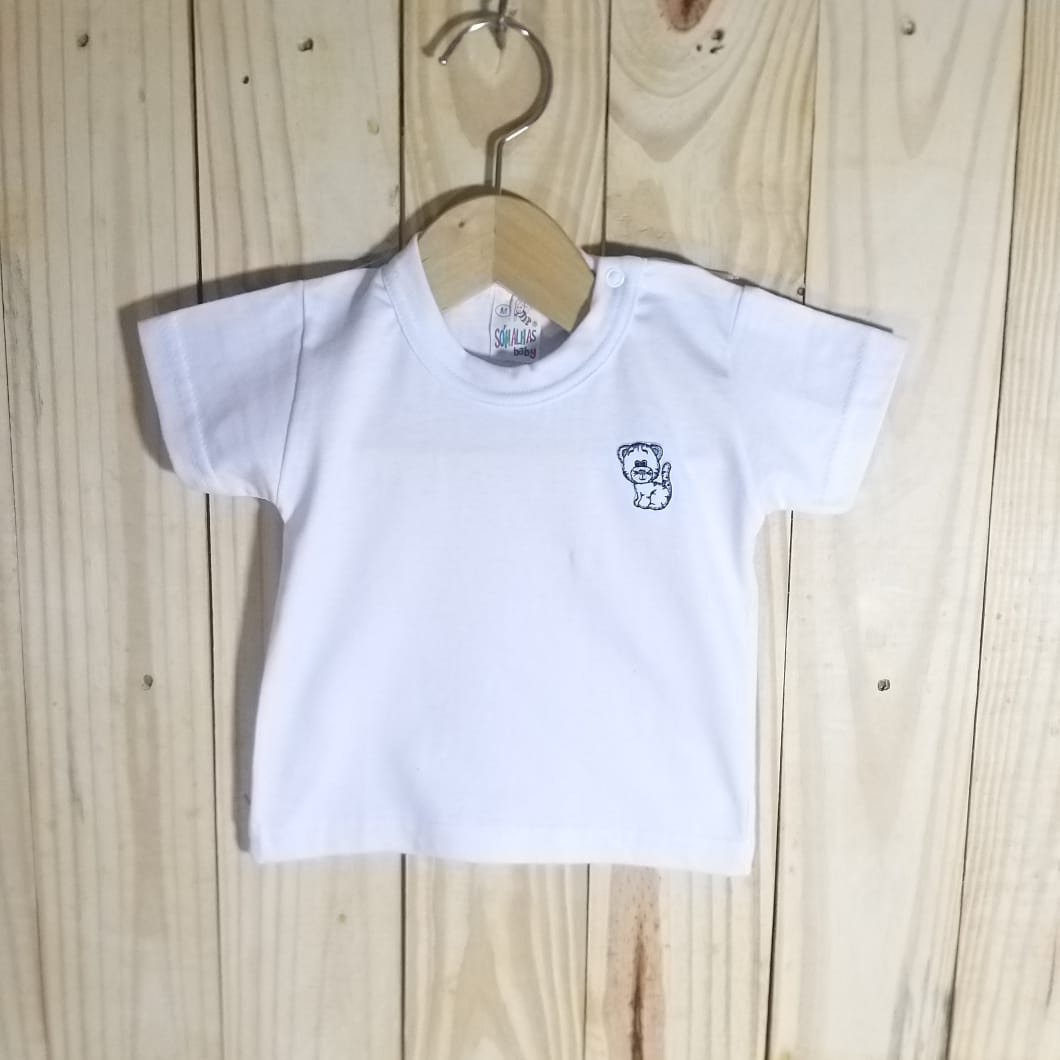 Camiseta em malha para Bebê Manga Curta