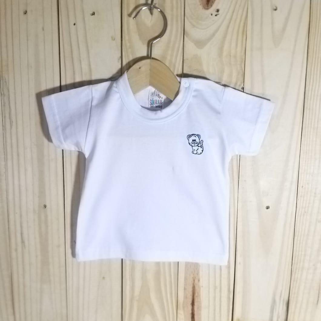 Camiseta para Bebê em Malha Manga Curta Branco
