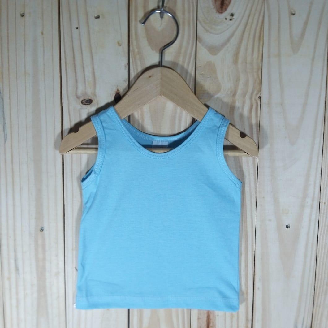 Camiseta em Malha para Bebê Regata Azul Claro