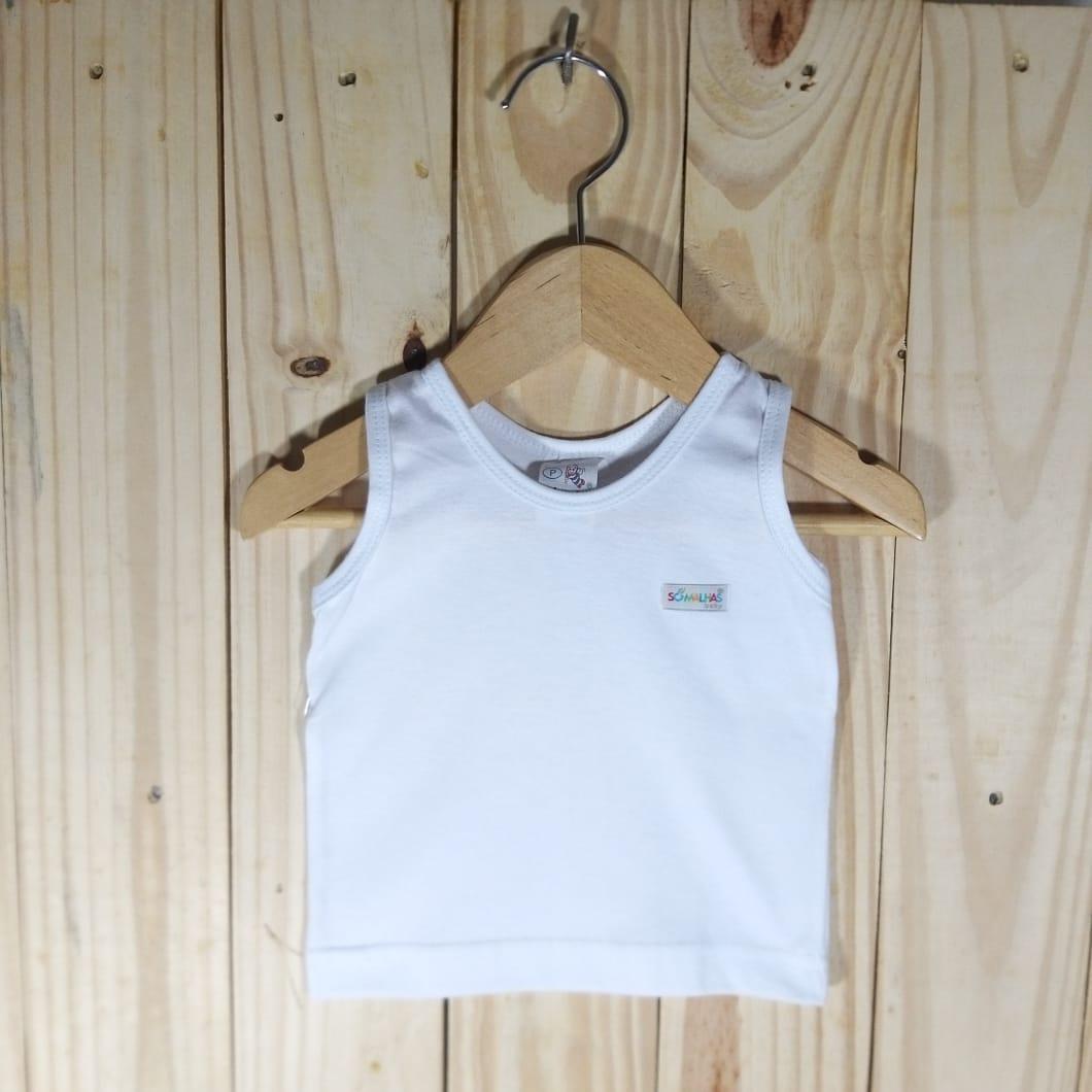 Camiseta para Bebê em Malha Regata Branco