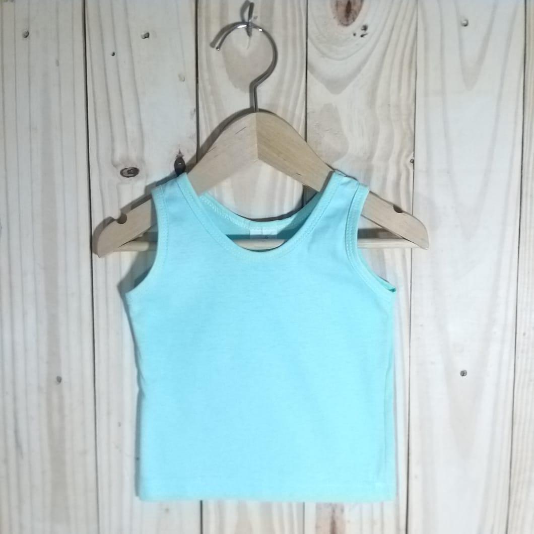 Camiseta para Bebê em Malha Regata Verde