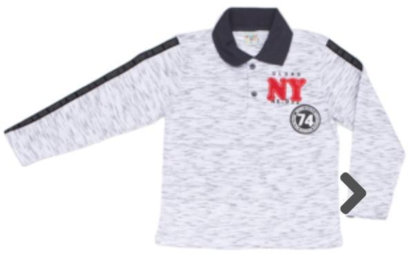 Camiseta Infantil Gola Polo Malha Branco Manga Longa