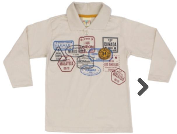 Camiseta Infantil Gola Polo Meia Malha Amendoa Manga Longa