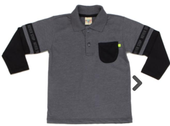 Camiseta Infantil Gola Polo Meia Malha Mescla Manga Longa
