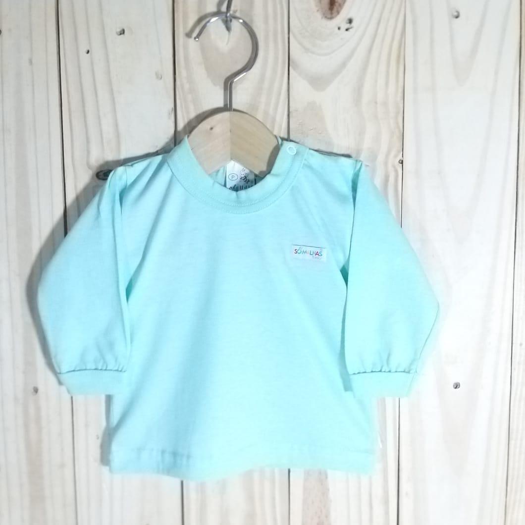 Camiseta Manga longa para Bebê Azul