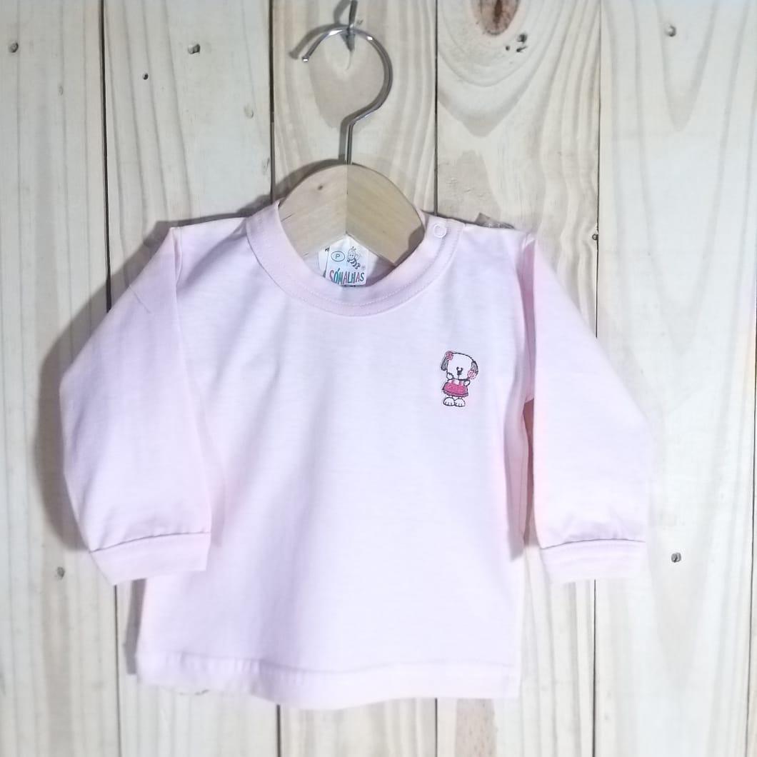 Camiseta para Bebê em Malha Manga Longa Rosa