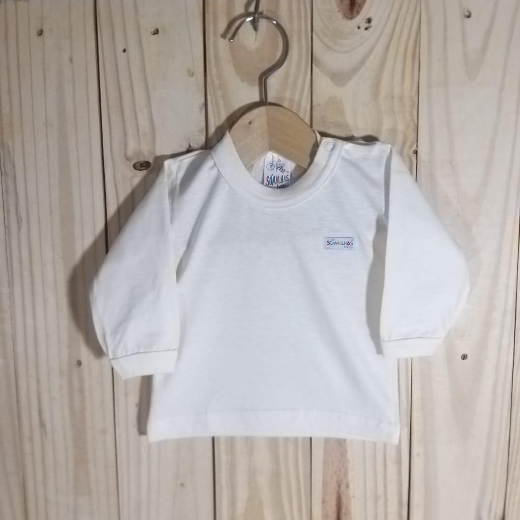 Camiseta para Bebê em Malha Manga Longa Off White