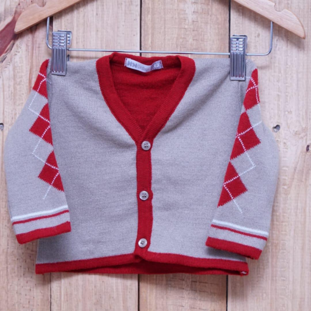 Casaco em Tricot para Bebê Bege com Detalhe em Vermelho