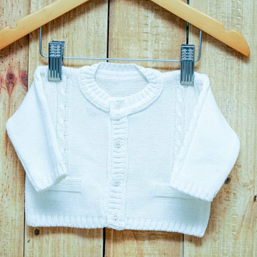 Casaco Em Tricot para Bebê  Com Trança Detalhes de Bolso Branco