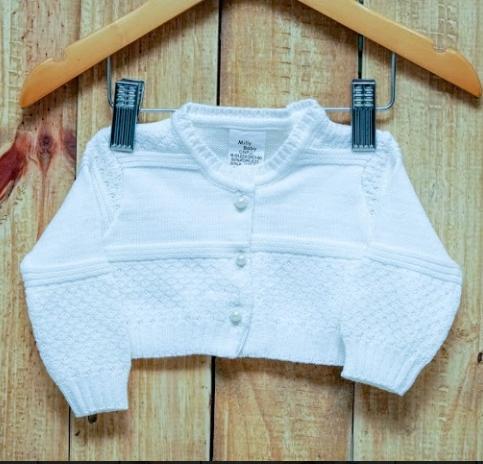 Bolero em Tricot  para Bebê  OFF White