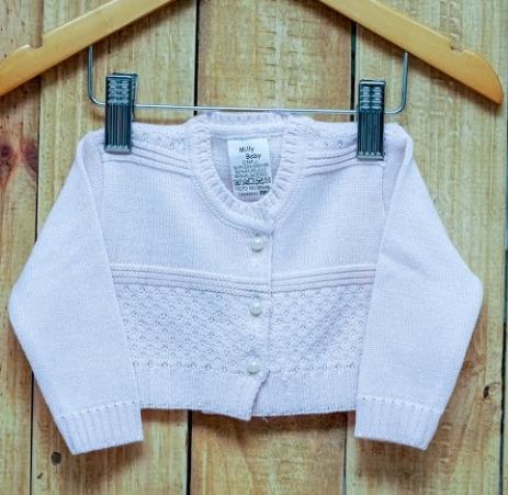 Bolero  em Tricot  para Bebê  Rosa