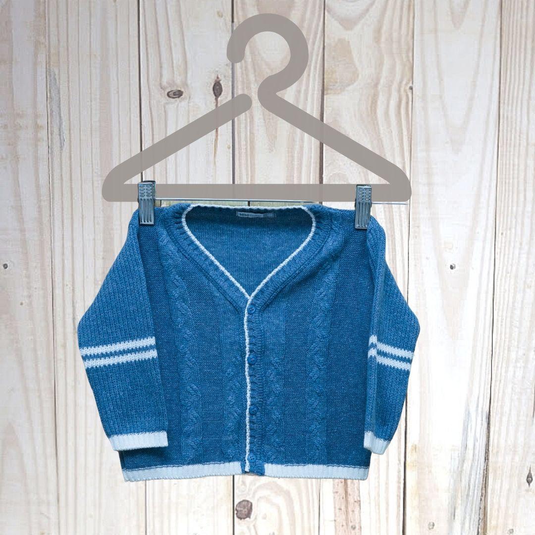 Casaco Em Tricot Infantil com Lista Azul Jeans