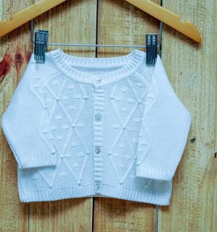 Casaco Em Tricot para Bebê  Com Detalhes Triangulo com Pérola OFF White