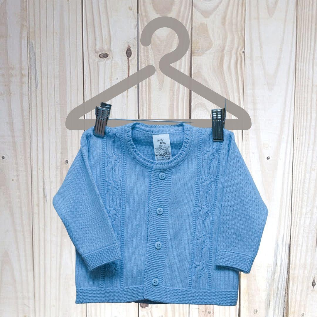 Casaco em Tricot Para Bebê  Azul Claro
