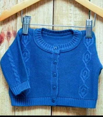Casaco Em Tricot para Bebê Trança  Blue Jeans