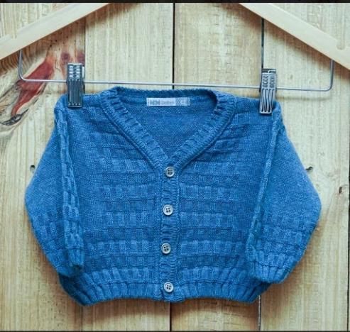 Casaco em Tricot para Bebê  Detalhes Quadradinho Blue Jeans