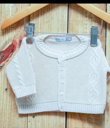 Casaco Para Bebê Em Tricot OFF White