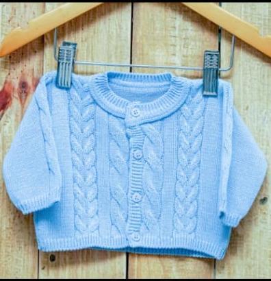 Casaco  Em Tricot para Bebê  Trançado  Azul Claro
