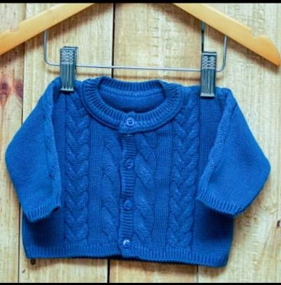 Casaco Em Tricot para Bebê Trançado Azul Jeans