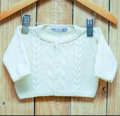 Casaco Para Bebê Em Tricô com Trança Off White
