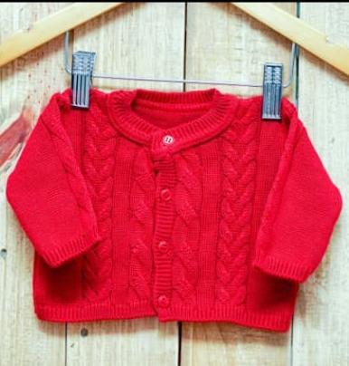 Casaco  Em Tricot para Bebê  Trançado Vermelho