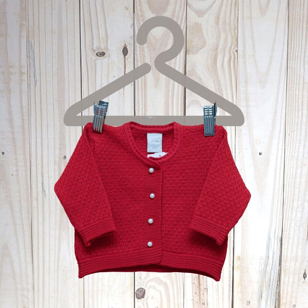 Casaco Em Tricot para Bebê Com Pérola Vermelho
