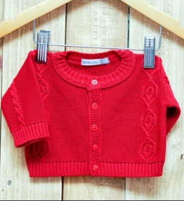Casaco em Tricot Para Bebê com Detalhes  Vermelho