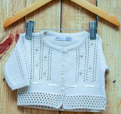 Casaco Para Bebê Em Tricot Bege Claro